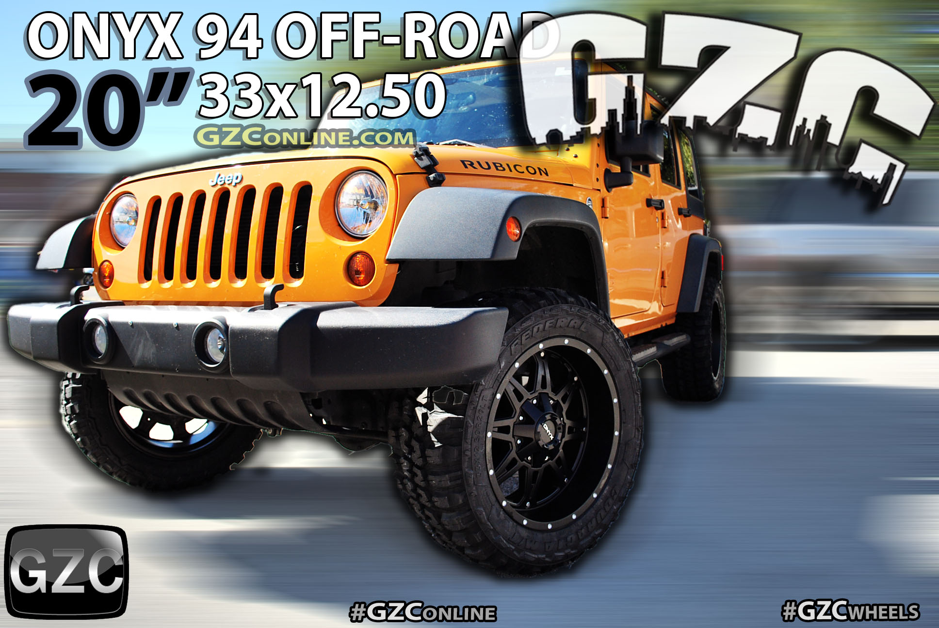 ONYX 94 OFFROAD 20x10 with 33x12.50 WHEELS on JEEP RUBICON